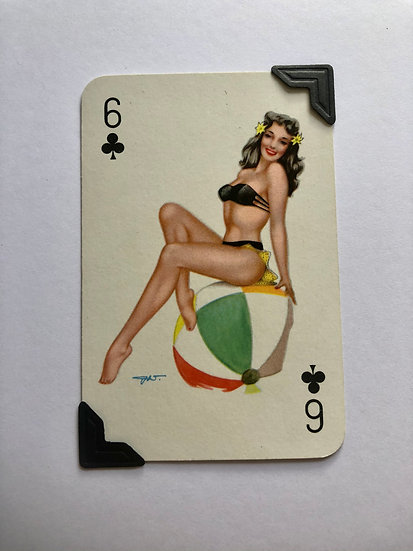Pin Up Six of Clubs Greetings Card