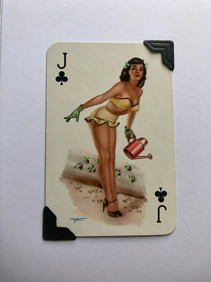 Pin Up Jack of Clubs Greetings Card