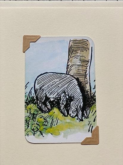 Eeyore Pooh Bear Greetings Card