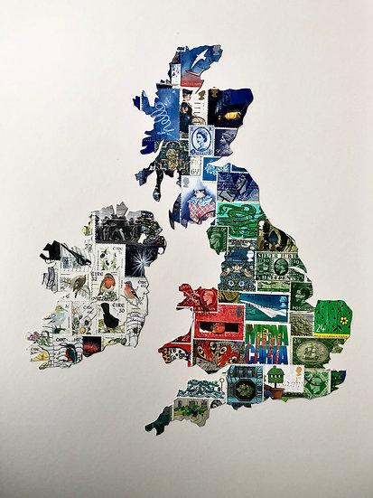 Simple UK Vintage Stamp Map