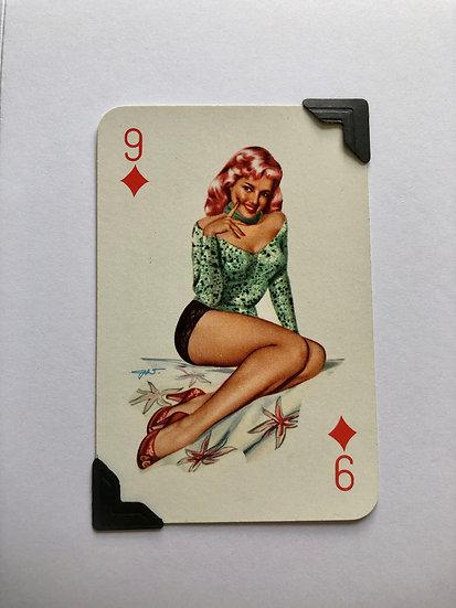 Pin Up Nine of Diamonds Greetings Card