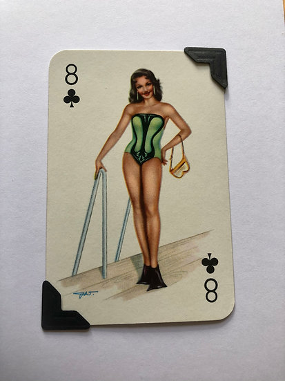 Pin Up Eight of Clubs Greetings Card