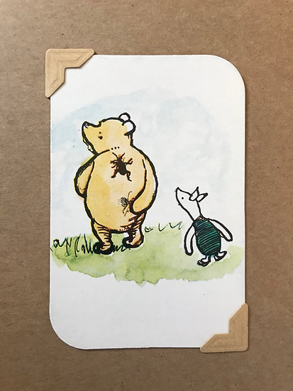 Pooh, Piglet and Spider Greetings Card
