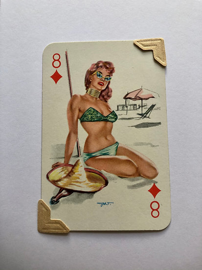 Pin Up Eight of Diamonds Greetings Card