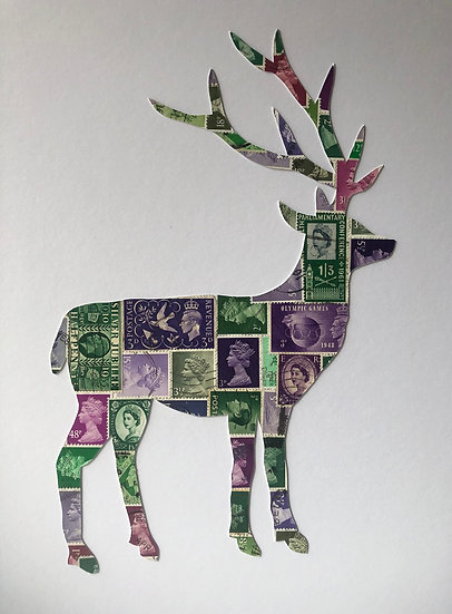 Heather and Bracken Stag Vintage Stamp Picture