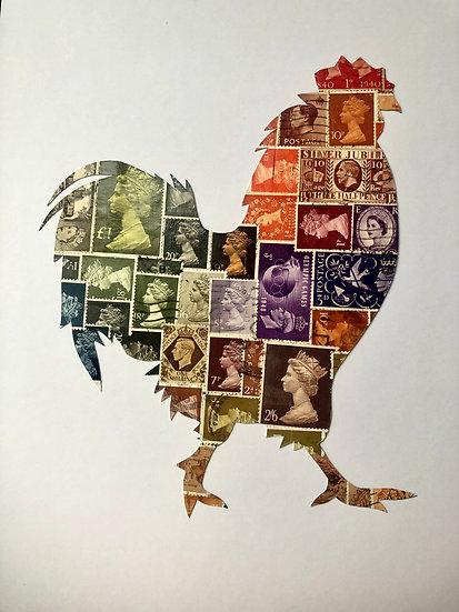Cockerel Vintage Stamp Picture - Rooster