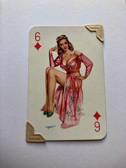 Pin Up Six of Diamonds Greetings Card