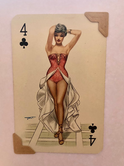 Darling Four of Clubs Greetings Card