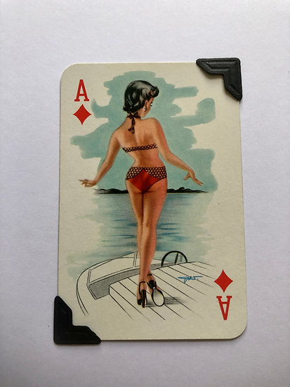 Pin Up Ace of Diamonds Greetings Card