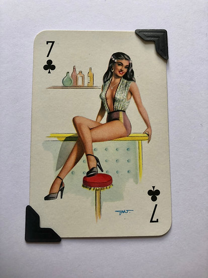 Pin Up Seven of Clubs Greetings card