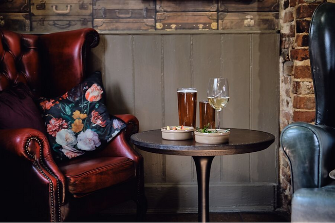 Seating area in the bar at the Eight Bells, Saffron Waldon