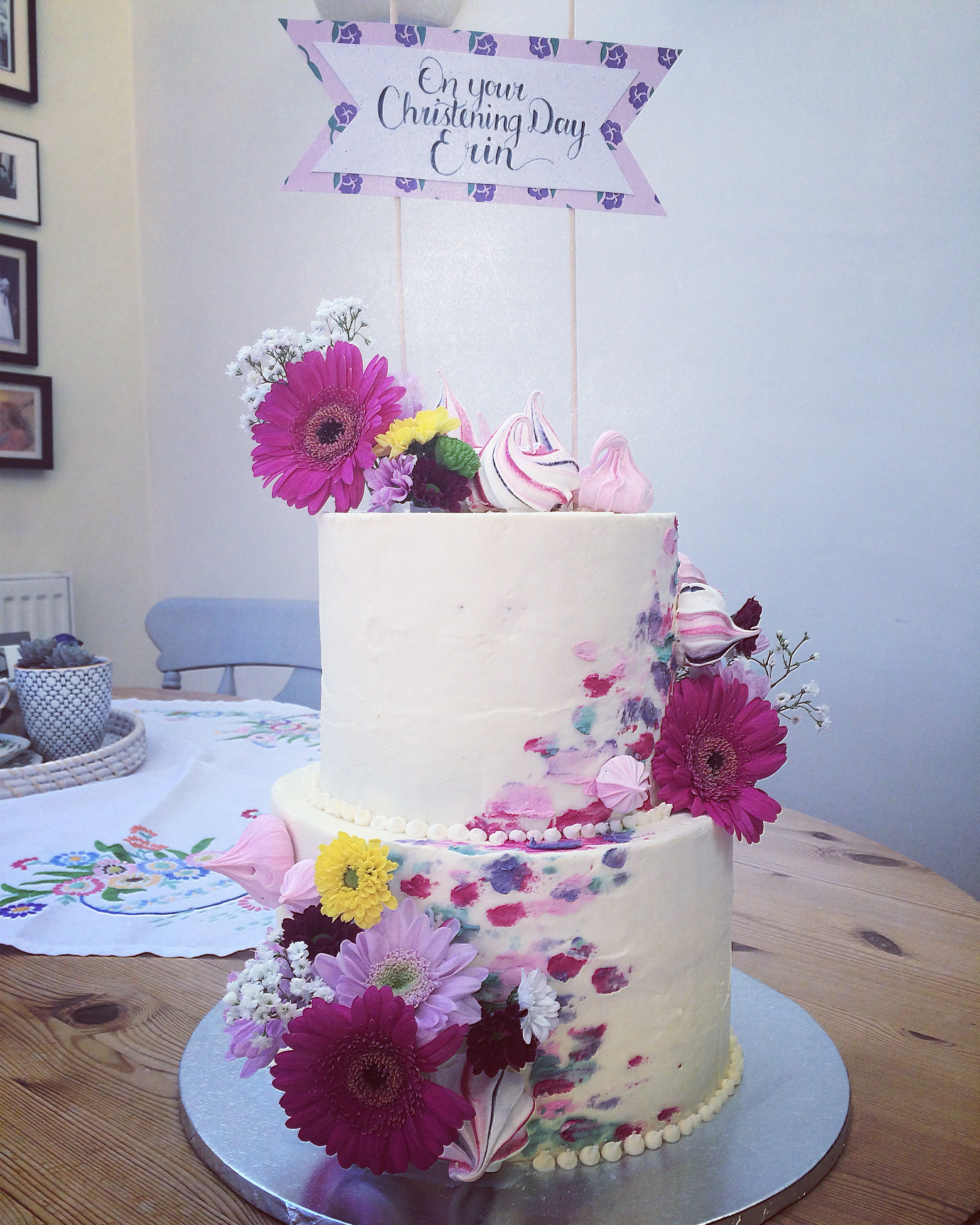pretty two tier bright floral