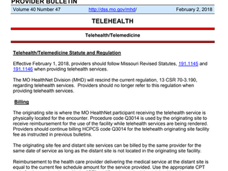 Missouri DSS Telehealth Update