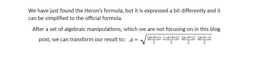 area of triangle square root formula