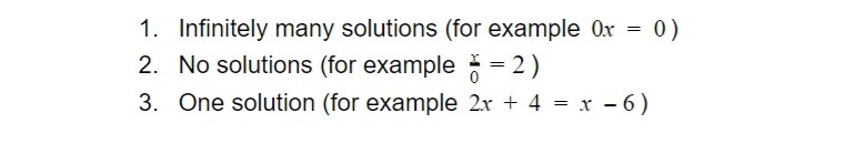 possible number of solutions in equations