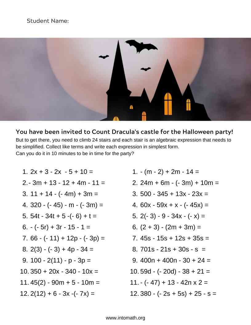 collecting like terms Halloween worksheet