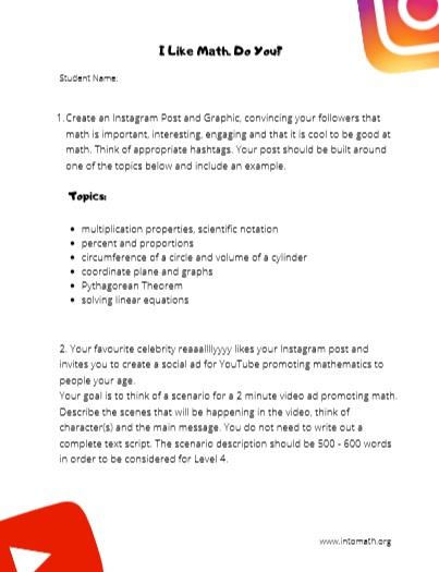 create an instagram post about math worksheet