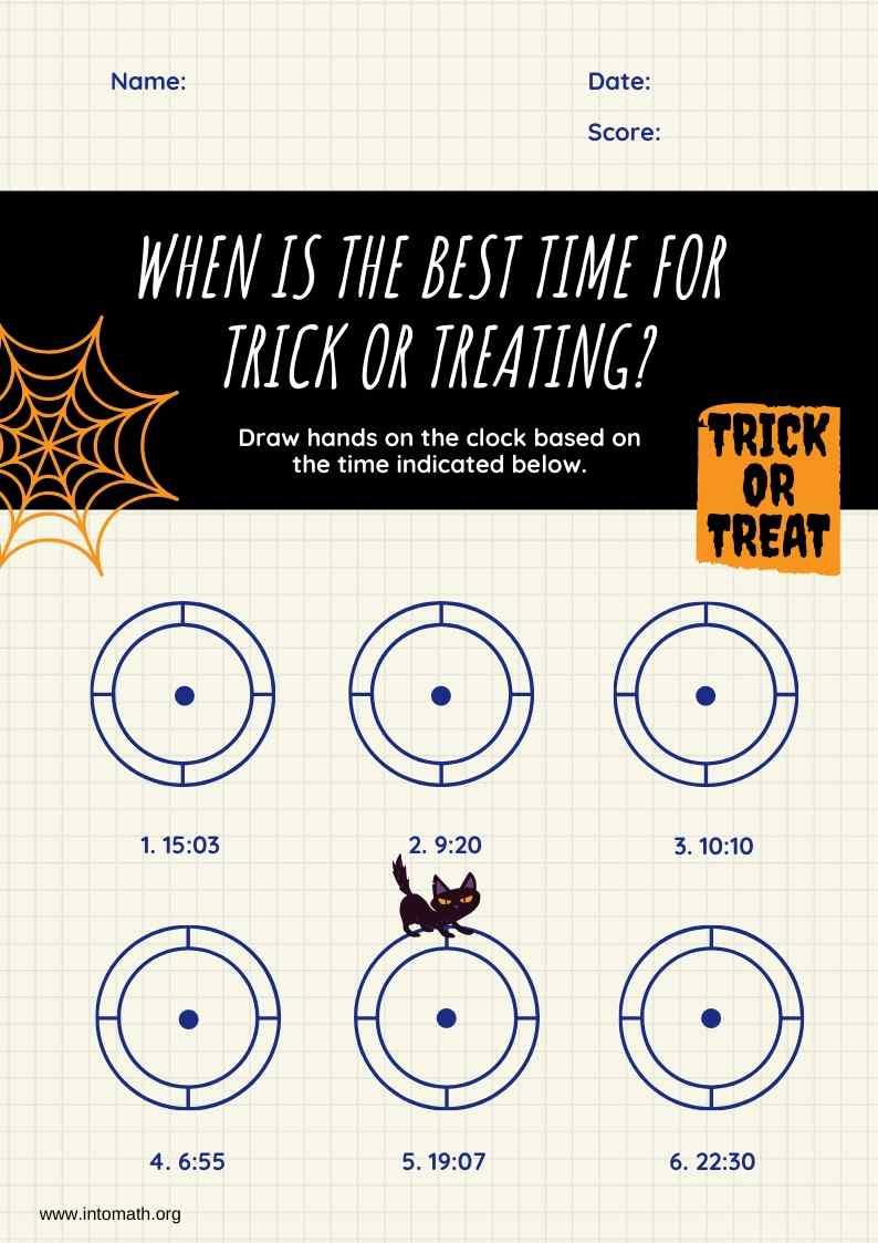 trick or treat clock halloween worksheet