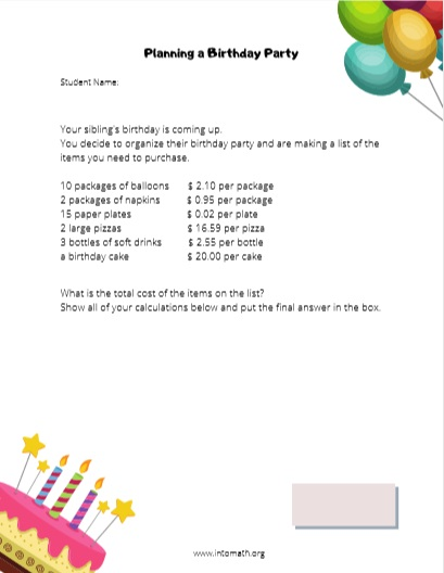 planning a birthday party math worksheet
