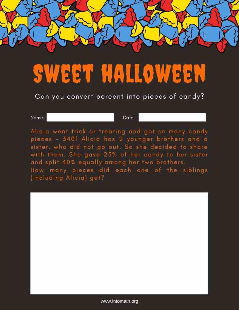 sweet Halloween percentages worksheet