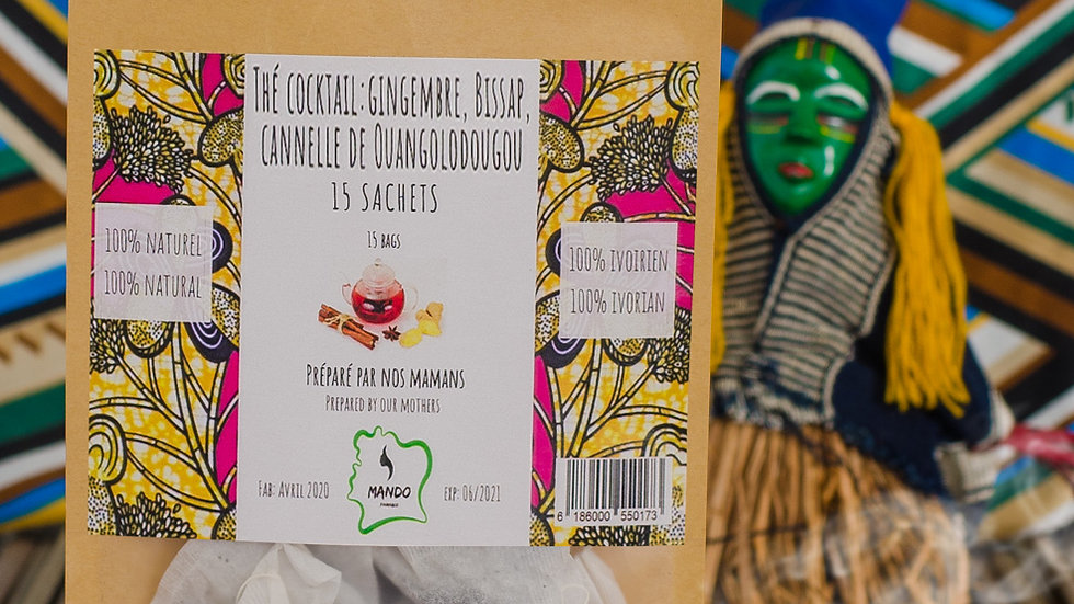 Thé cocktail Bissap, gingembre et cannelle 15 sachets