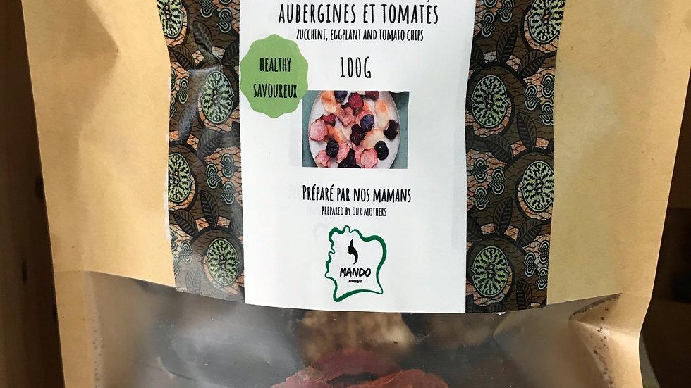 Chips de légumes: courgettes, aubergines, tomates