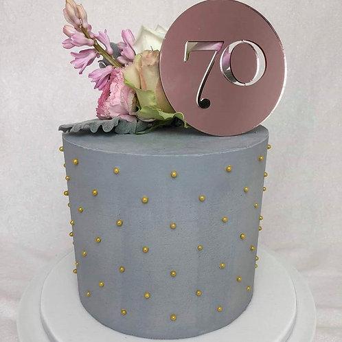 70th cake plaque