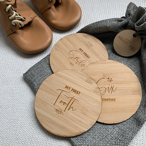 Baby Milestone Bamboo plaques