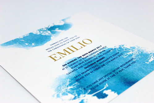 Blue Water Colour 20 Pack (Envelopes Optional)  Pic here is the foiled option