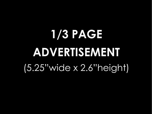 1/3 PAGE ADVERTISEMENT