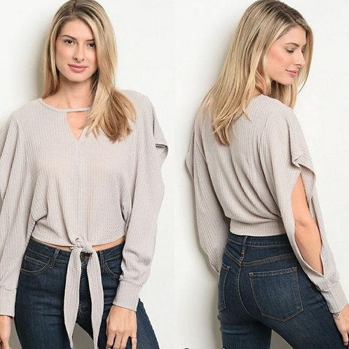 Open Sleeve Tie Front Sweater color Grey