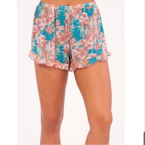 Blue Floral soft Shorts