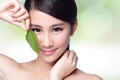 beautiful woman face portrait with green