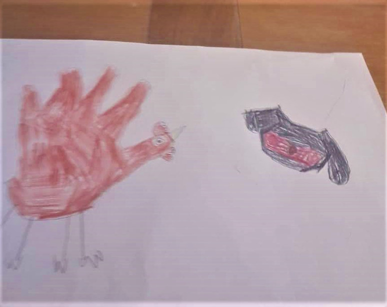 ELIZA 27-4 MY ART WORK A CHICKEN AND A P