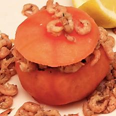 Tomates aux crevettes grises