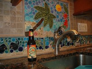 Tropical Tile Backsplash