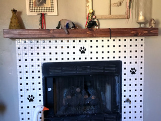 Fireplace Adorned with Dog Paws