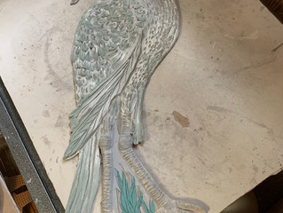 Heron 3 D Tile  Created on by studio in a day and hand built. This stately bird was color washed