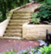Landscape with Limestone Retaining Wall and Bench, Stairs with Landscaping Lights