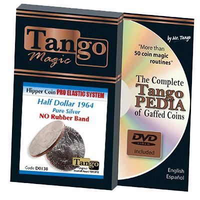 Flipper Coin Pro Elastic Half Dollar 1964 (w/DVD) (D0138) by Tango