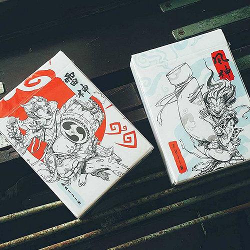 Fujin & Raijin Playing Cards - Red