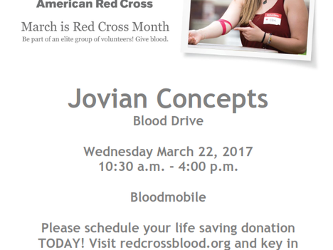 Upcoming Blood Drive Hosted at Jovian Concepts' Headquarters