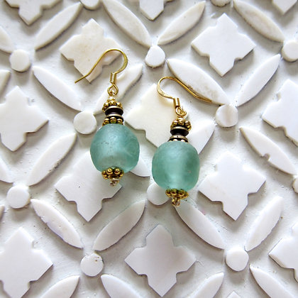 Aqua Ghana Glass beads earrings