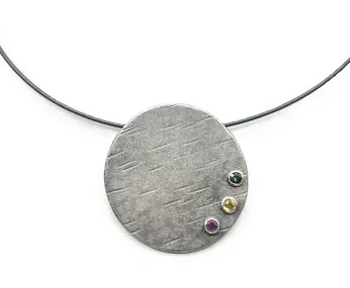 Large Circle Pendant with Gemstones