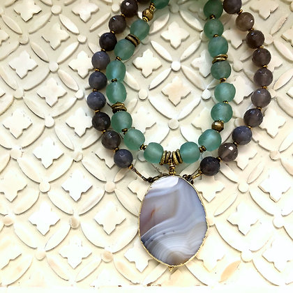 Agate Pendant with Ocean Glass and Agate beads