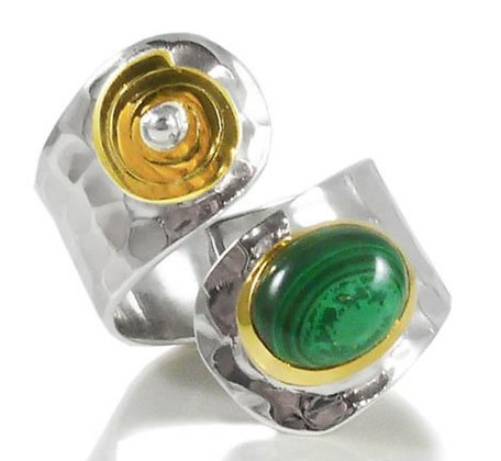 Tel Aviv Twist Malachite Ring