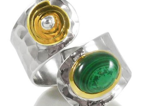 Tel Aviv Twist Malachite Ring