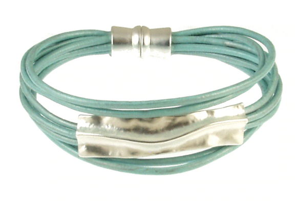 Aqua and Silver Magnetic Bracelet
