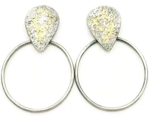 Abstract Teardrop and Circle Earrings