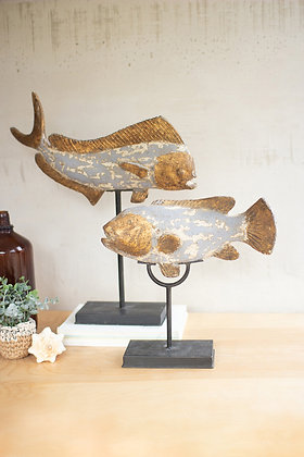 set of 2 painted fishlife on stands